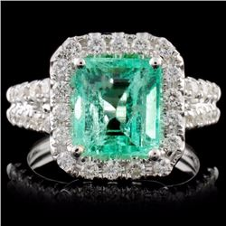 18K White Gold 2.74ct Emerald & 1.08ct Diamond Rin