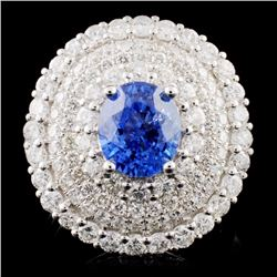 18K White Gold 2.71ct Sapphire & 2.52ct Diamond Ri