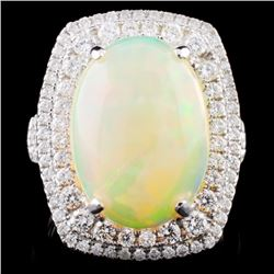 18K Gold 5.89ct Opal & 1.04ct Diamond Ring