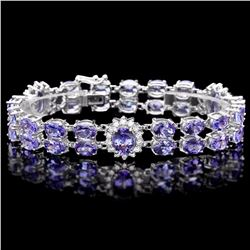 `14k Gold 29ct Tanzanite 1.40ct Diamond Bracelet