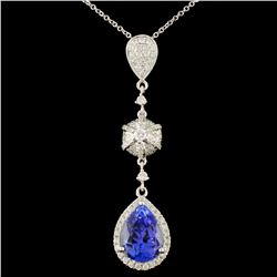 18K Gold 3.51ct Tanzanite & 0.56ctw Diamond Pendan