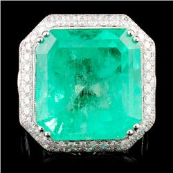 18K Gold 23.83ct Emerald & 3.98ctw Diamond Ring