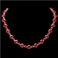 `14k Gold 66.5ct Ruby 2ct Diamond Necklace