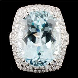 *GIA 18K Gold 13.87ct Paraiba & 3.37ctw Diam Ring