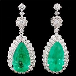 18K Gold 10.06ctw Emerald & 2.34ctw Diamond Earrin