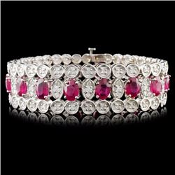 14K Gold 21.50ct Ruby & 3.25ctw Diamond Bracelet