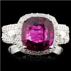 *GIA 18K Gold 3.71ct Ruby & 1.39ctw Diamond Ring