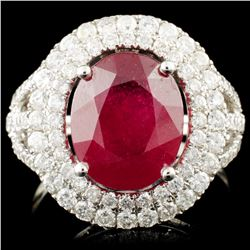 14K Gold 5.57ct Ruby & 1.49ctw Diamond Ring