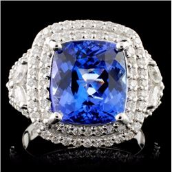 18K White Gold 4.69ct Tanzanite & 1.00ctw Diamond