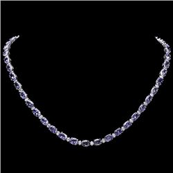 `14k Gold 35ct Tanzanite 1.75ct Diamond Necklace