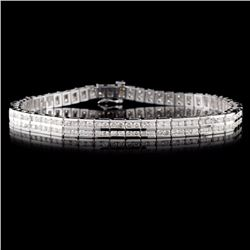 14K White Gold 4.57ctw Diamond Bracelet