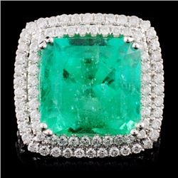18K White Gold 10.43ct Emerald & 1.36ct Diamond Ri
