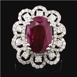 18K White Gold 6.07ct Ruby & 1.80ct Diamond Ring