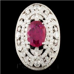 18K Gold 4.07ct Ruby & 2.51ctw Diamond Ring