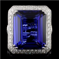 18K White Gold 21.50ct Tanzanite & 3.93ct Diamond