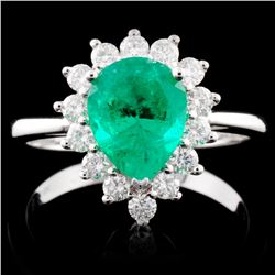 18K Gold 1.33ct Emerald & 0.44ctw Diamond Ring