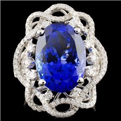 18K White Gold 8.28ct Tanzanite & 0.96ct Diamond R