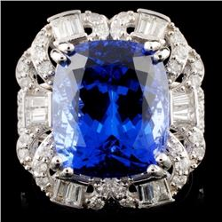 18K White Gold 10.25ct Tanzanite & 1.23ctw Diamond