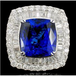 18K White Gold 17.88ct Tanzanite & 4.24ct Diamond