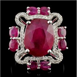 18K White Gold 7.85ct Ruby & 0.30ctw Diamond Ring