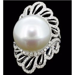 18K Gold 16mm South Sea Pearl & 1.44ct Diamond Rin
