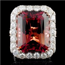 18K Gold 30.54ct Tourmaline & 3.73ct Diamond Ring