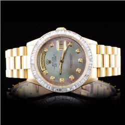 Rolex 18K YG Day-Date 3.50ct Diamond Wristwatch