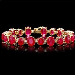`14k Gold 55ct Ruby 1.35ct Diamond Bracelet