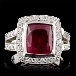 14K Yellow Gold 3.48ct Rubellite & 1.41ct Diamond
