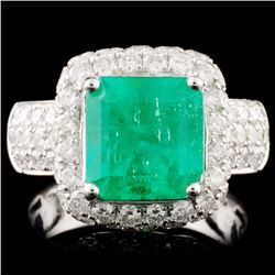 18K Gold 3.07ct Emerald & 2.95ctw Diamond Ring