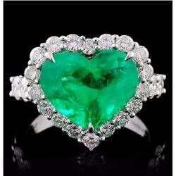 18K Gold 3.71ct Emerald & 1.28ct Diamond Ring