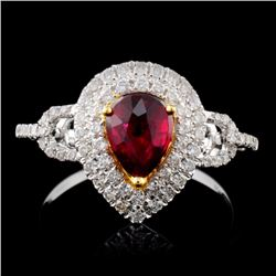 18K White Gold 0.99ct Ruby & 0.45ct Diamond Ring