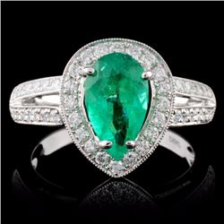 18K White Gold 1.24ct Emerald & 0.47ct Diamond Rin
