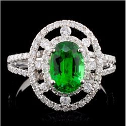 18K White Gold 1.19ct Tsavorite & 0.62ct Diamond R
