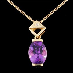 14K Gold 2.90ct Amethyst & 0.02ctw Diamond Pendant
