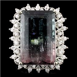14K Gold 19.87ct Tourmaline & 0.51ctw Diamond Ring