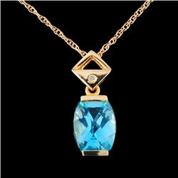 14K Gold 2.43ct Topaz & 0.02ct Diamond Pendant
