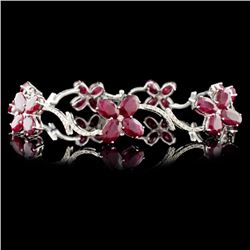 14K Gold 17.45ct Ruby & 1.14ctw Diamond Bracelet