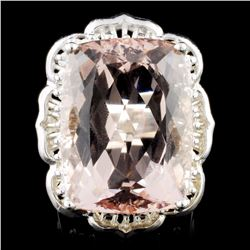 14K Gold 21.01ct Morganite & 1.05ctw Diamond Ring