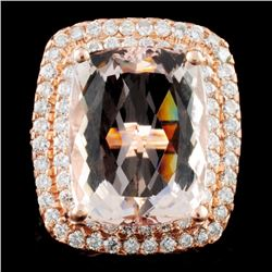 14K Gold 16.51ct Morganite & 2.05ctw Diamond Ring