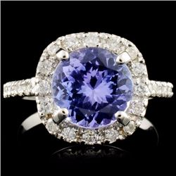 14K Gold 2.95ct Tanzanite & 0.41ctw Diamond Ring
