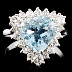 14K Gold 2.03ct Aquamarine & 0.71ctw Diamond Ring