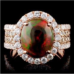 14K Gold 2.31ct Opal & 1.77ct Fancy Diamond Ring