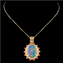 14K Gold 2.50ct Opal & 0.35ctw Diamond Pendant