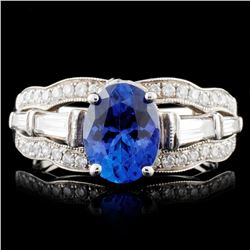 14K Gold 2.00ct Tanzanite & 1.35ctw Diamond Ring