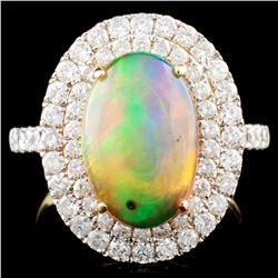14K Gold 2.60ct Opal & 1.22ctw Diamond Ring