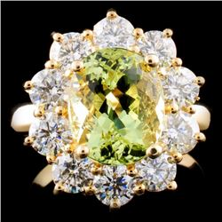14K Gold 3.01ct Beryl & 2.05ctw Diamond Ring