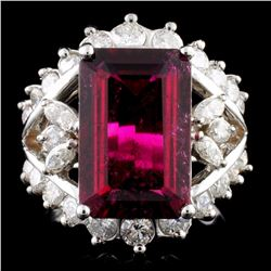 14K Gold 4.37ct Tourmaline & 1.33ctw Diamond Ring