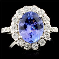 14K Gold 2.50ct Tanzanite & 0.69ctw Diamond Ring