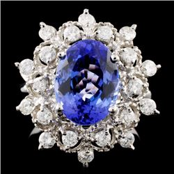 14K Gold 4.36ct Tanzanite & 0.73ctw Diamond Ring